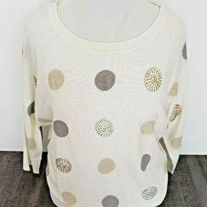 Charter Club Sweaters - Womens XL Sweater Polka Dot Beaded Glitter Holiday